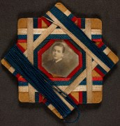 Photographs of unknown persons in handmade frames, from the WW1 Memorabilia Box.