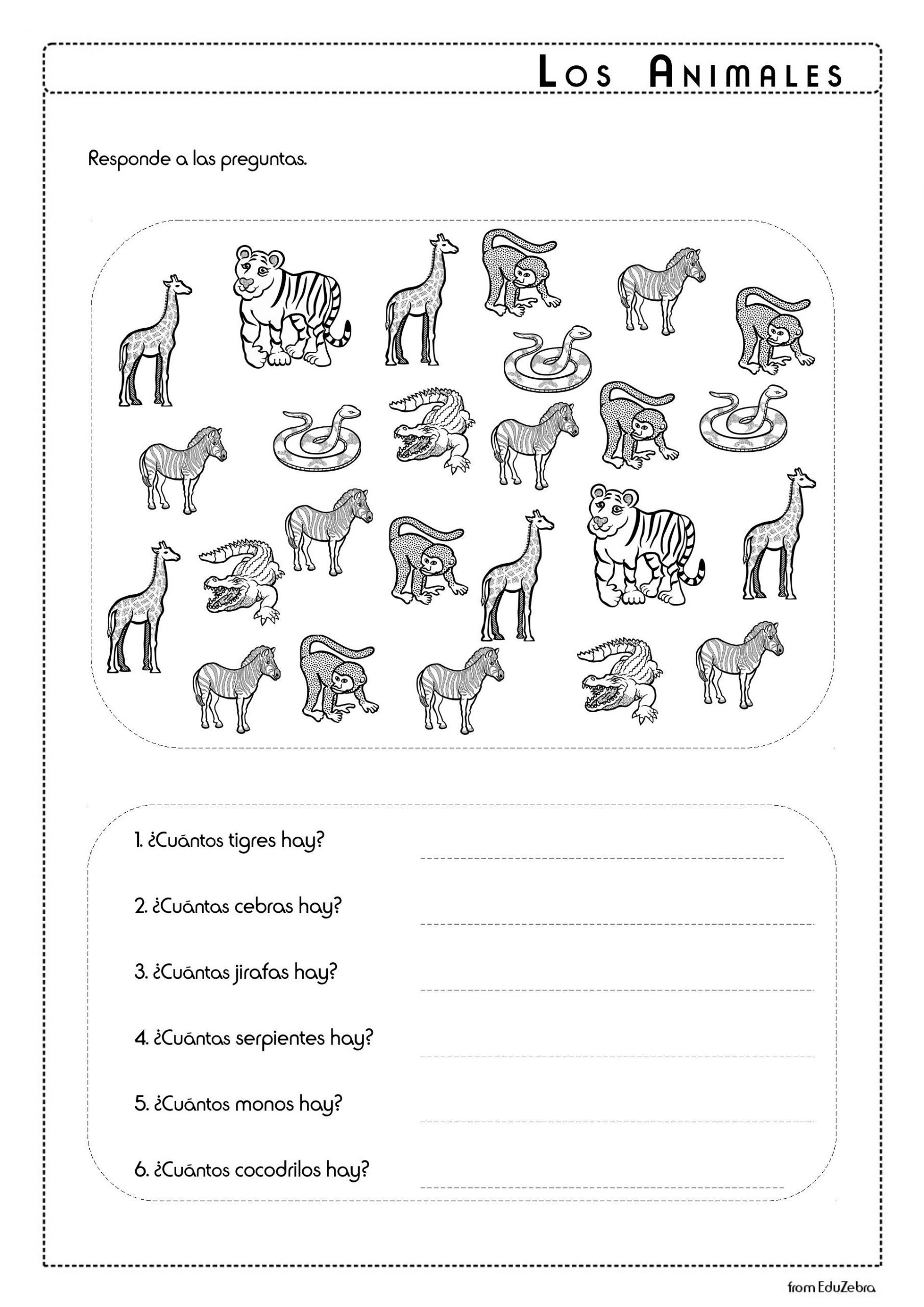 Animals In Spanish Worksheets Theme Library