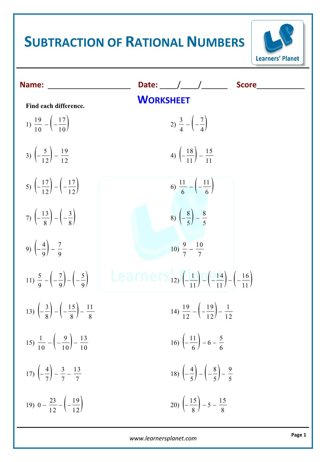 Equations With Rational Numbers Worksheet Theme Library