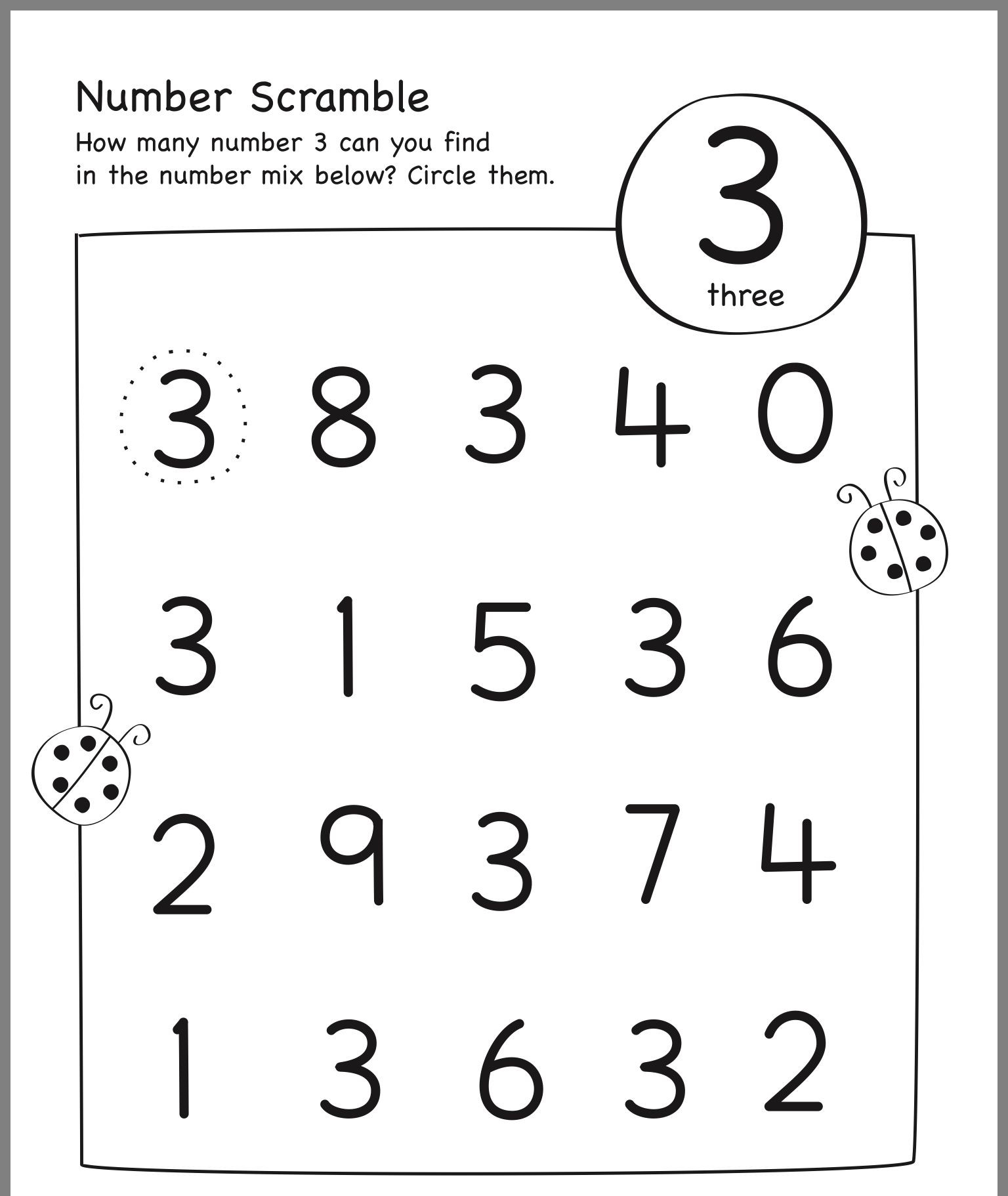30 Number 3 Worksheets For Toddlers
