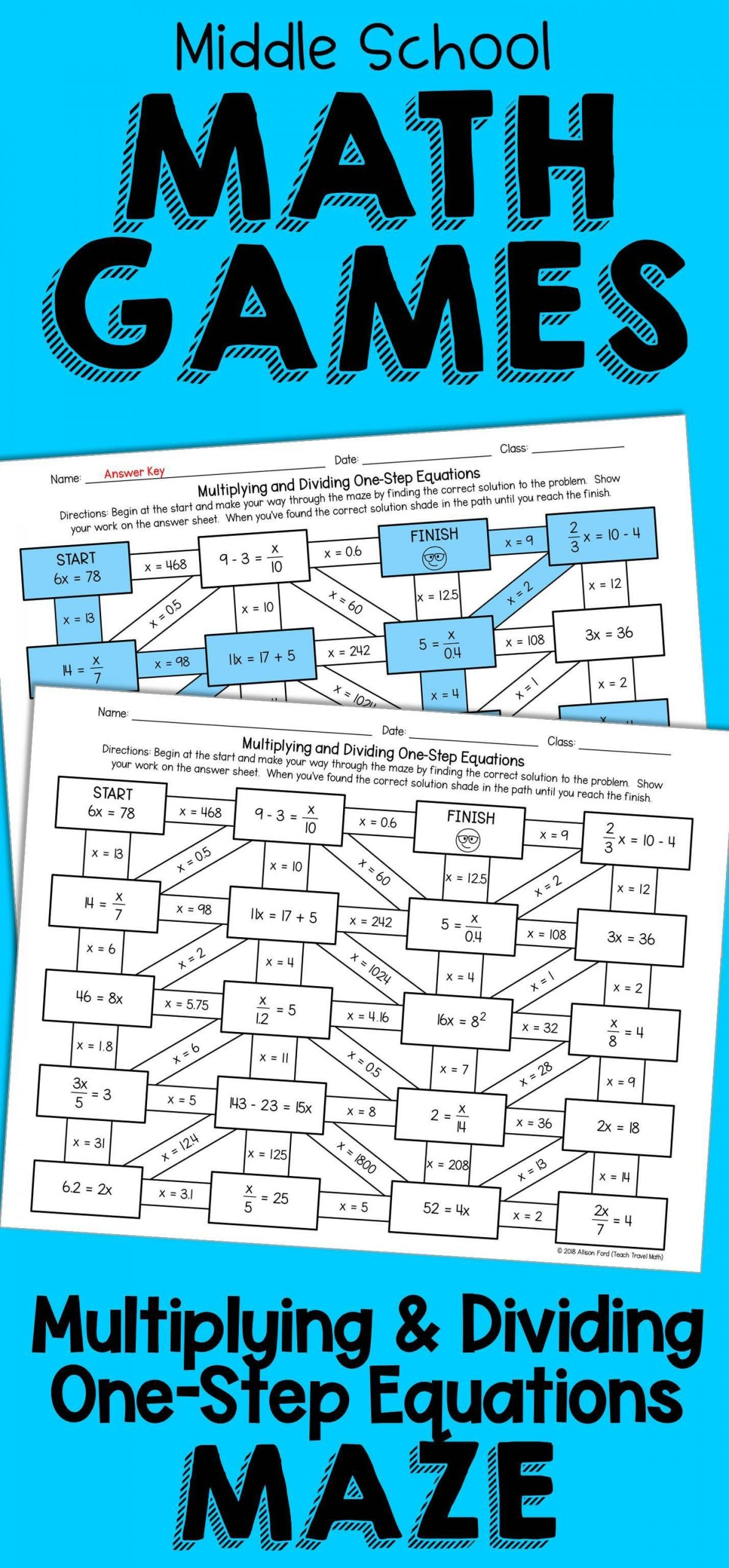 One Step Equations Multiplication Worksheet Theme Library