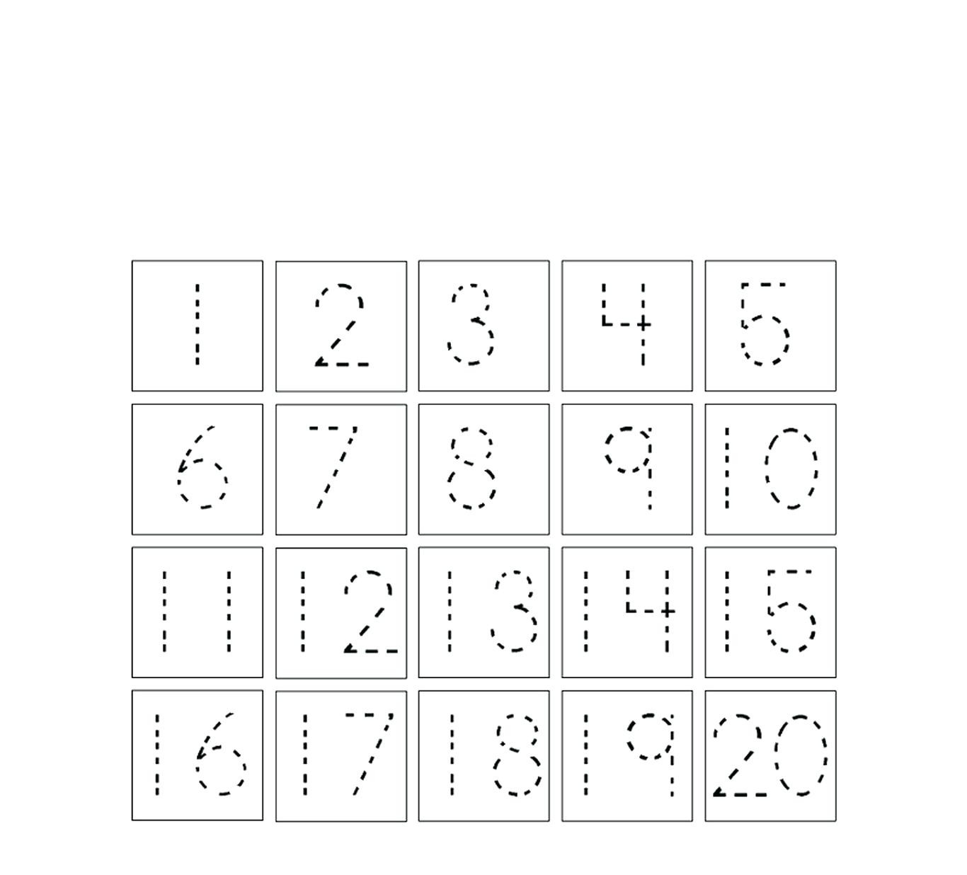30 Tracing Numbers Worksheets 1 20