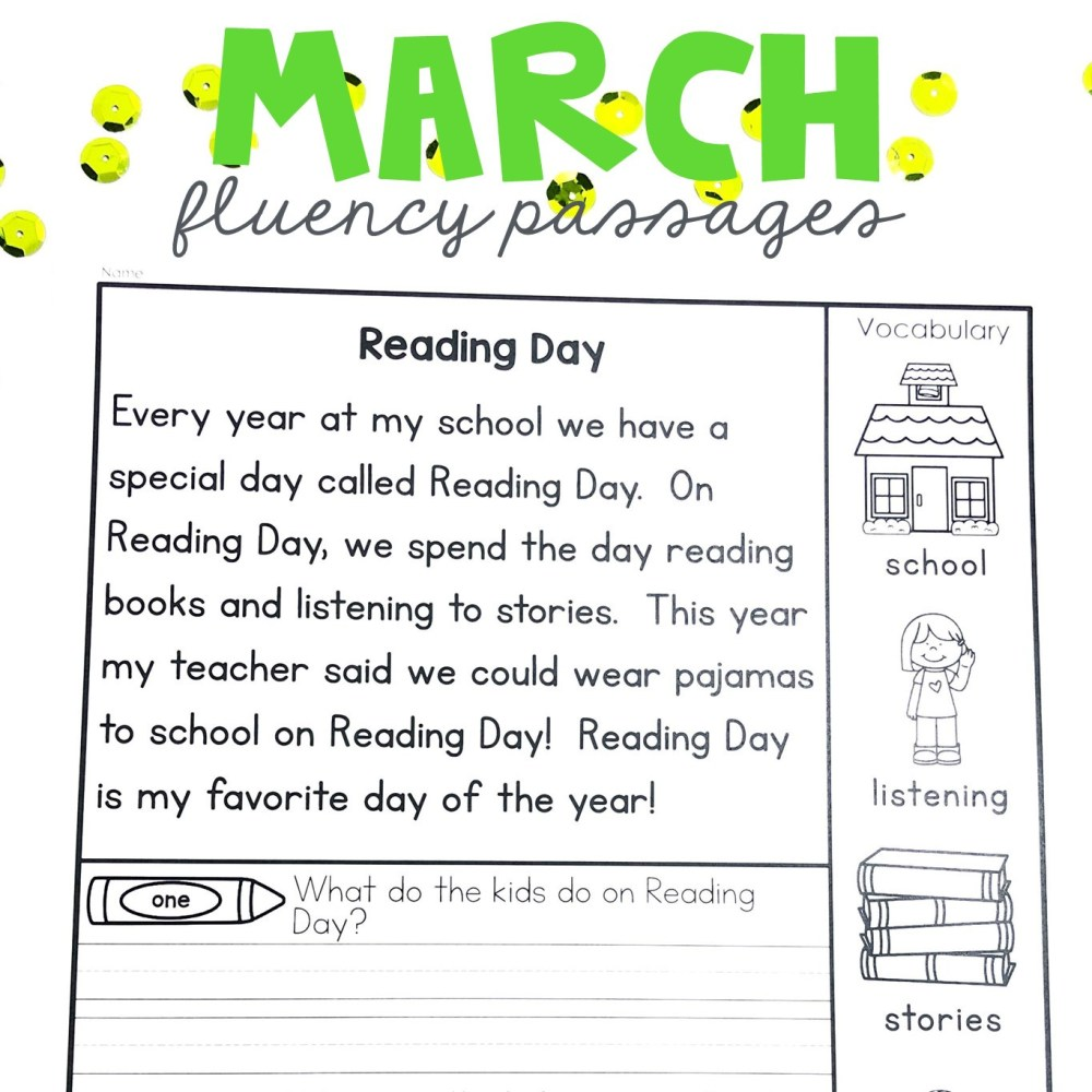 medium resolution of Reading Fluency 1st Grade Worksheets   Printable Worksheets and Activities  for Teachers