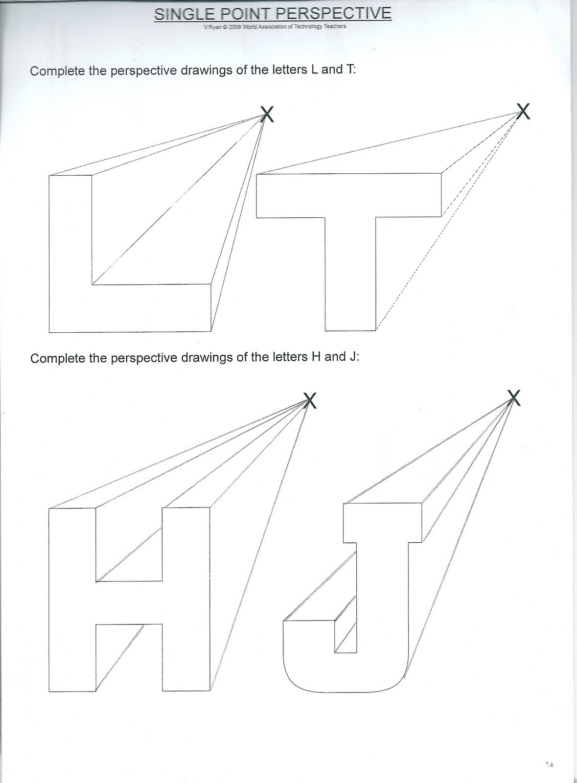 30 Two Point Perspective Letters Worksheet