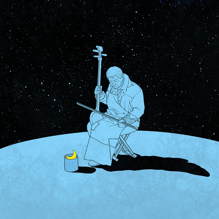 Illustrated man playing Erhu, starry backdrop