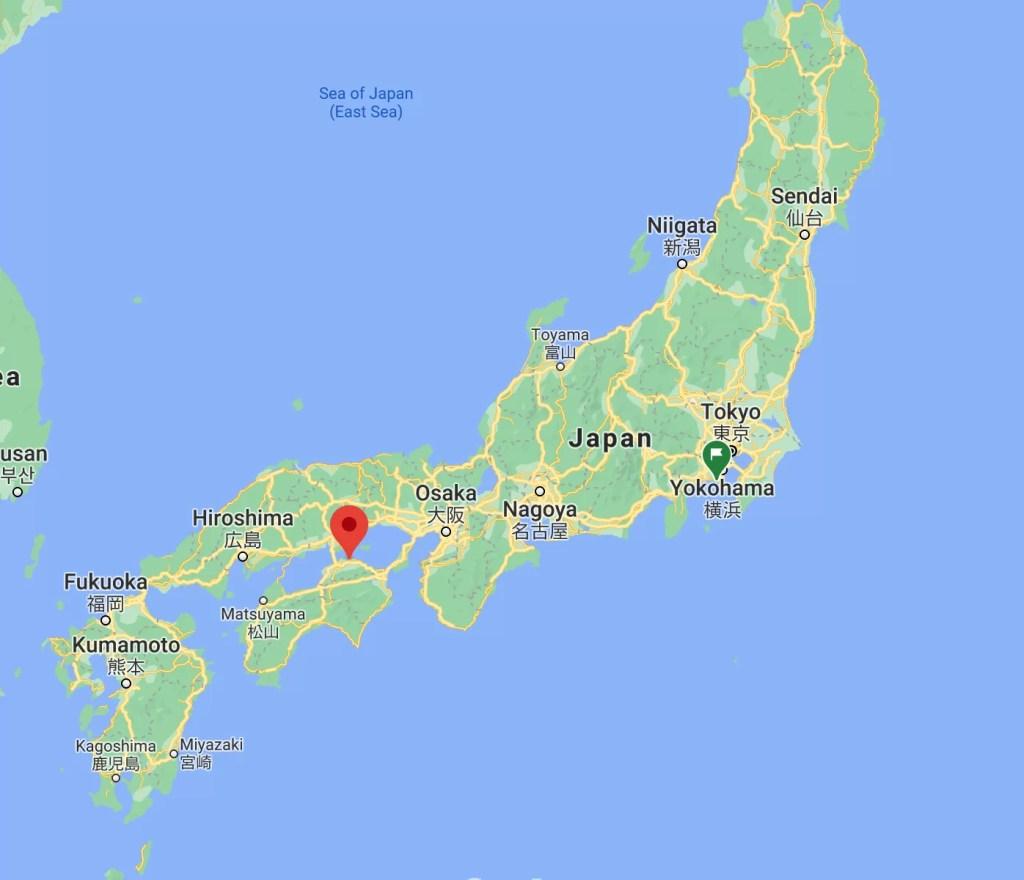 Image of Takamatsu, Japan on a map