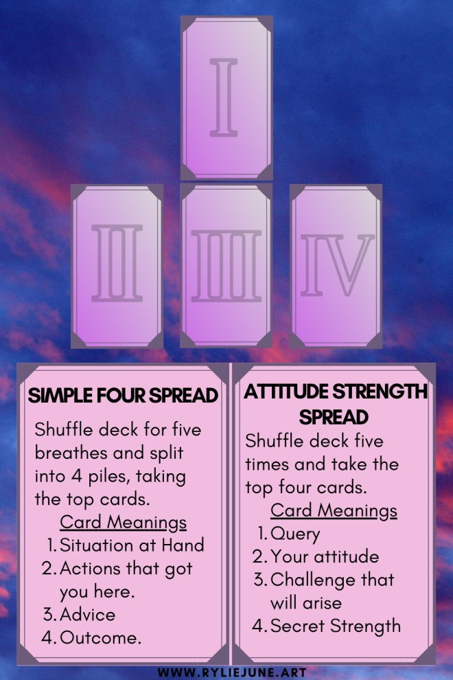Easy and simple four card tarot spread. Beginners tarot card spreads. Stacked four card tarot spread for beginners.