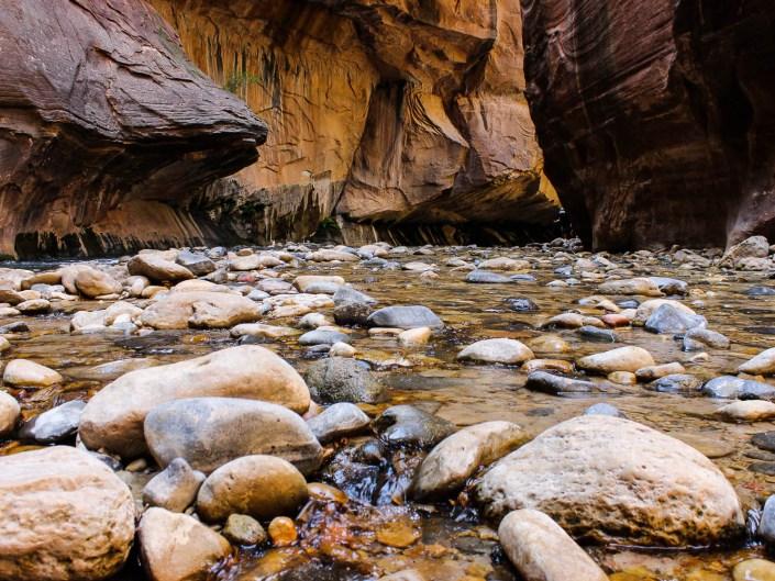 Water running through rocks