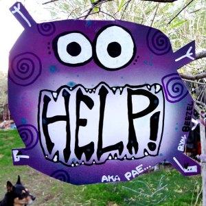 help monster metal sign