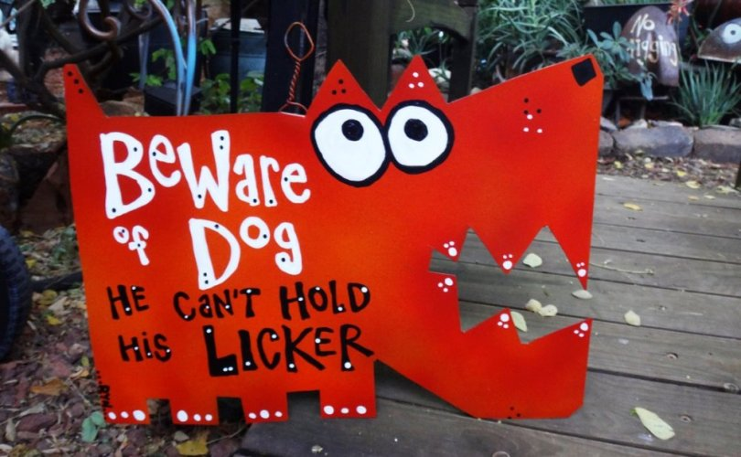 dog hold licker sign