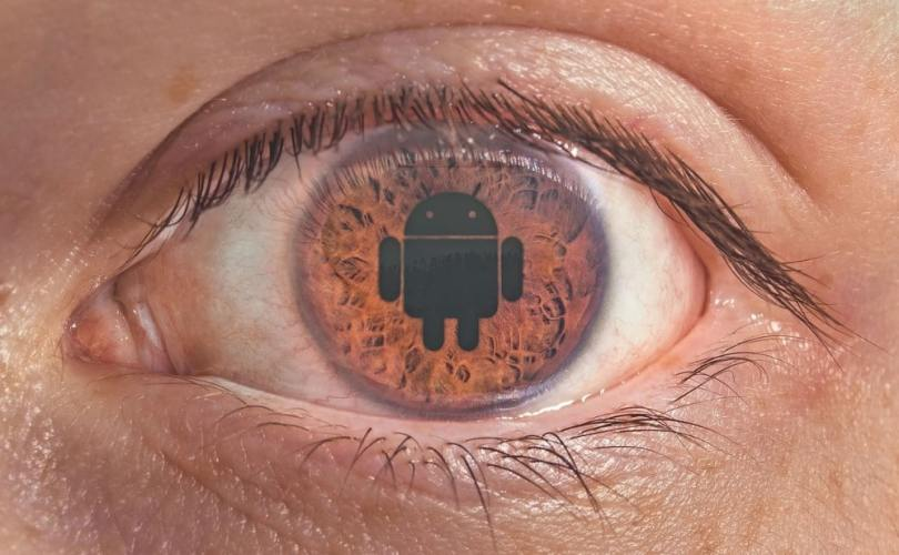 put phone down eyeball with android icon on pupil