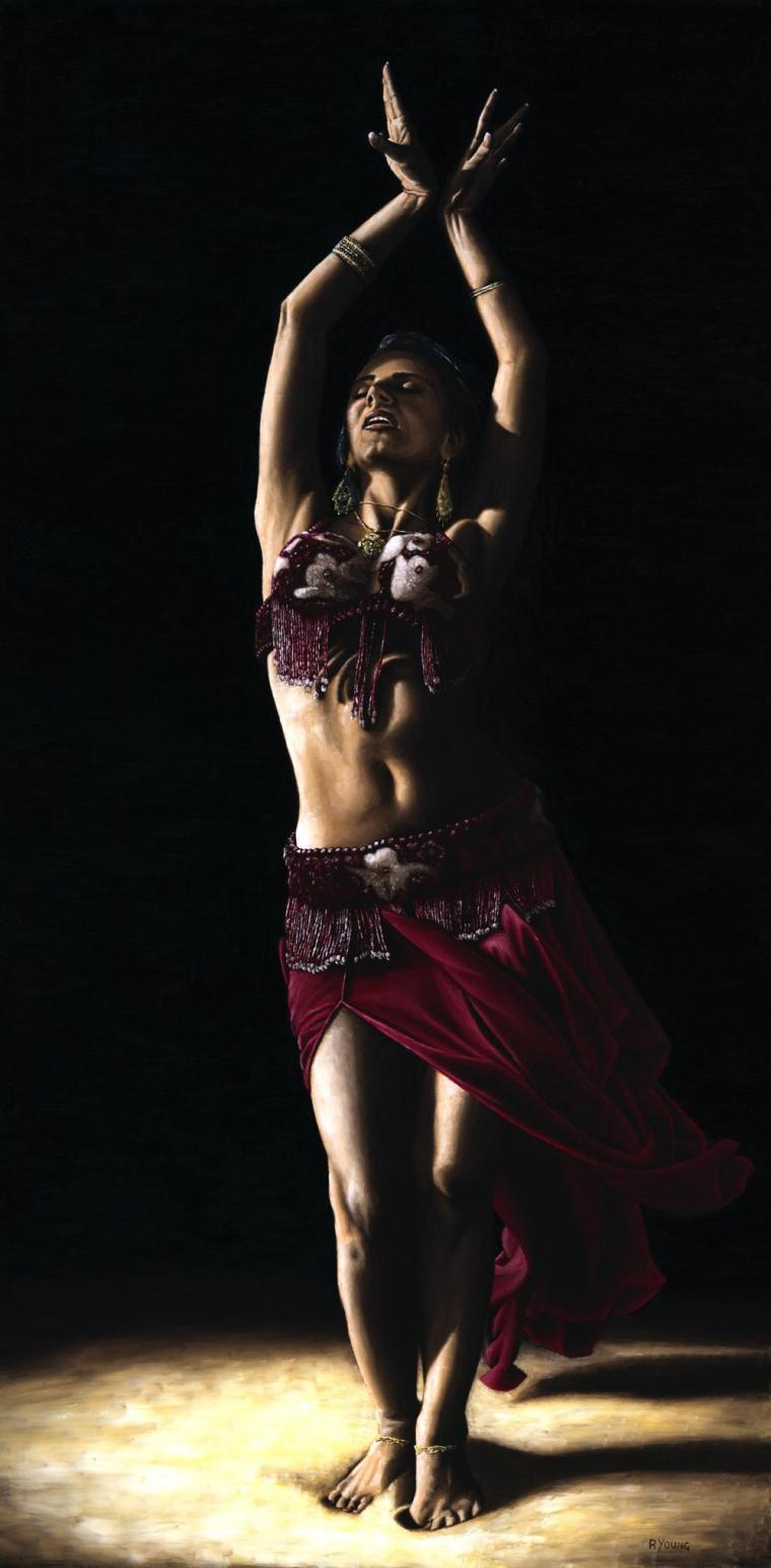Dancers - Belly Dance Gallery. Desert Dancer. Fine art original oil painting on a 120cm x 60cm stretched canvas created in 2008 using a knife. Original available. Framed = £1,098