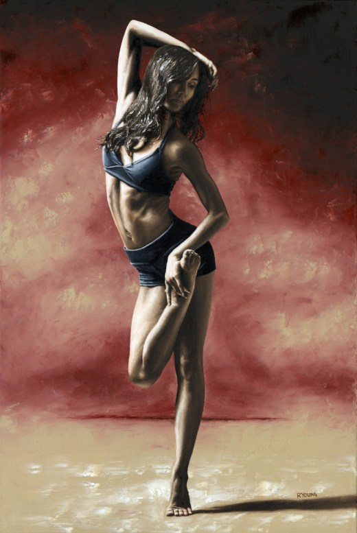 Sultry Dancer - Dayna Marshal. Fine art original oil painting on a 91cm x 61cm stretched canvas created in 2012 using a knife. Produced in cooperation with Chris Peddecord and Dayna. Original available. Framed = £1,850