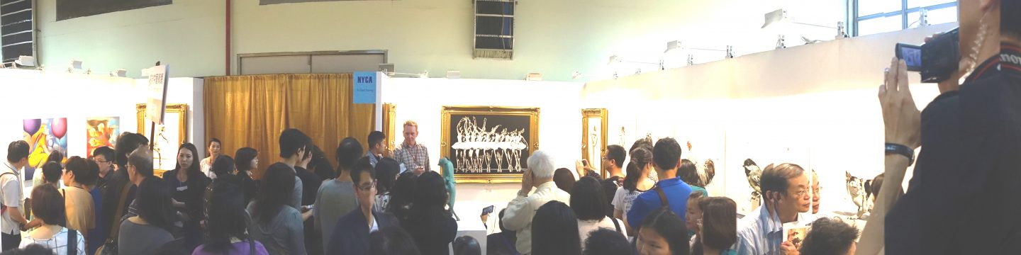 Contact the Artist Richard R Young Art. Richard conducting a presentation press interview in Taipei