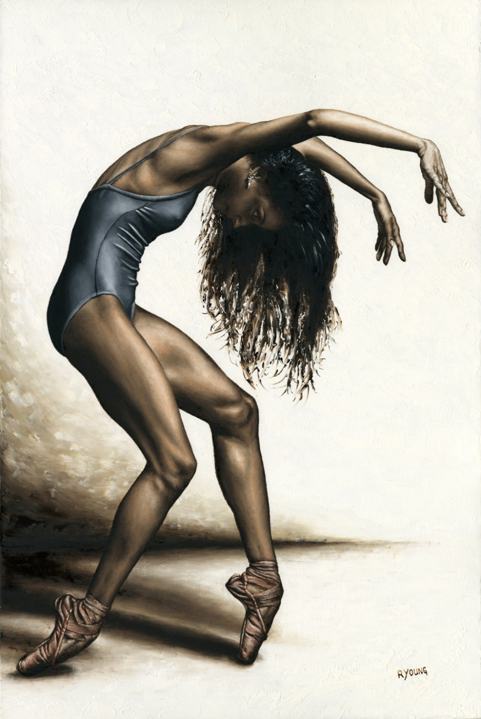 Dancers - Ballet Art Gallery. Dance Intensity - Arianni Martin. Fine art original oil painting on a 91cm x 61cm stretched canvas created in 2017 using a knife. Produced in cooperation with Ron Brewer and Arianni. Original available. Framed = £1,850