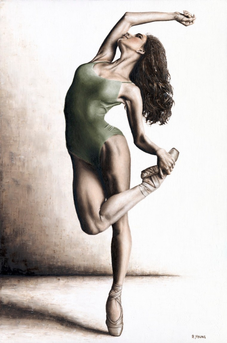 Dancers - Ballet Art Gallery. Subtle Confidence - Vlada Borodulina. Fine art original oil painting on a 91cm x 61cm stretched canvas created in 2018 using a knife. Produced in cooperation with Elena Stepanova. Original available. Framed = £4,950