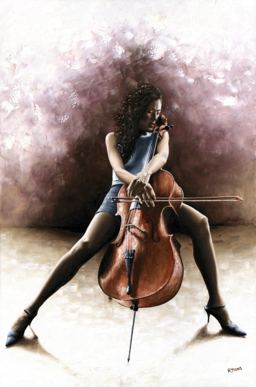 Musicians and Singers Art Gallery. Tranquil Cellist - Tere Keating. Fine art original oil painting on a 91cm x 61cm stretched canvas created in 2012 using a knife Produced in cooperation with Carey More and Tere. Original available. Framed = £1,495