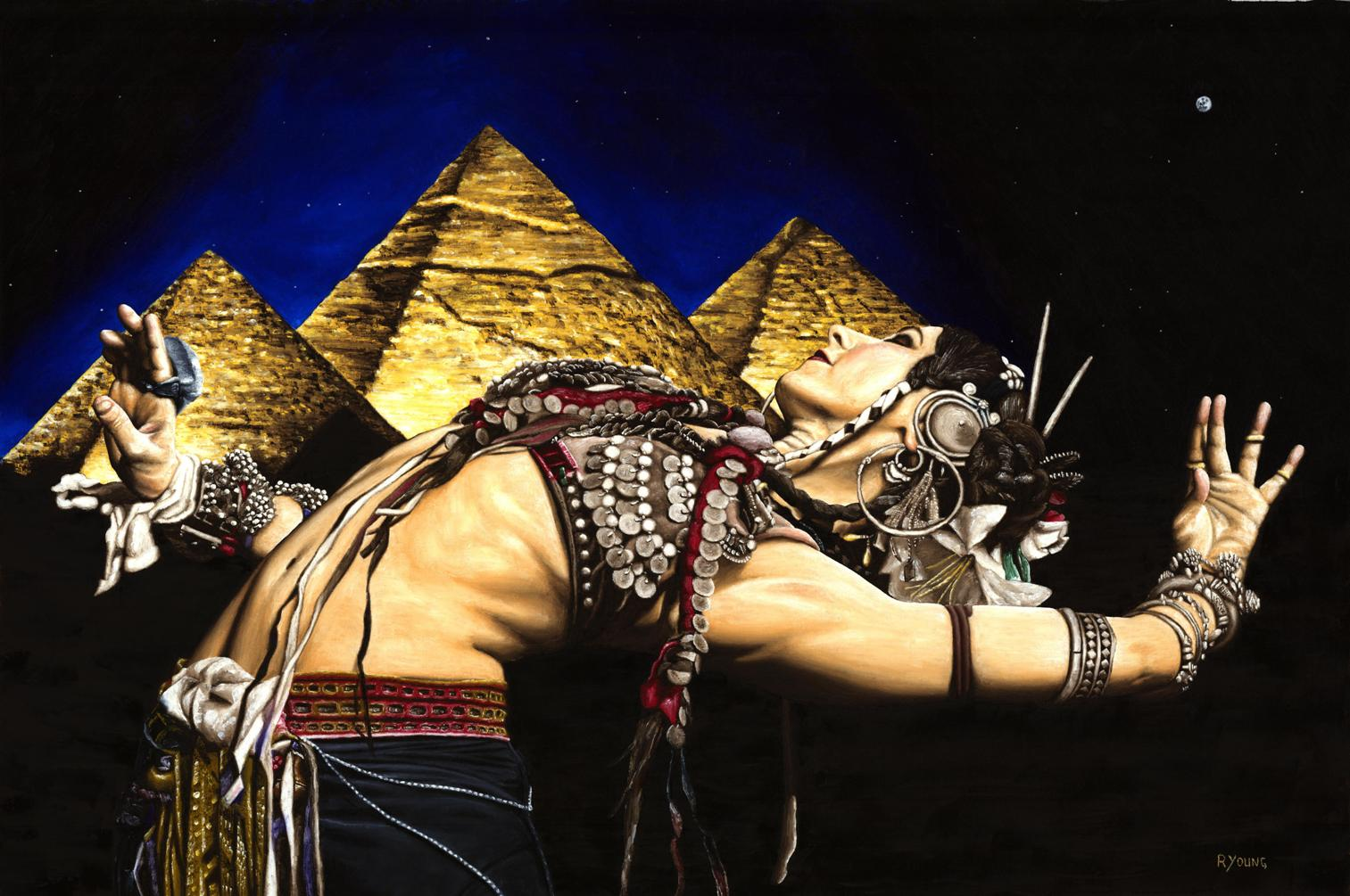 Dancers - Belly Dance Gallery. Bellydance of the Pyramids - Rachel Brice. Fine art original oil painting on a 91cm x 61cm stretched canvas created in 2007 using a knife. Produced in cooperation with Mark Rahmani and Rachel. Original available. Framed = £1,598