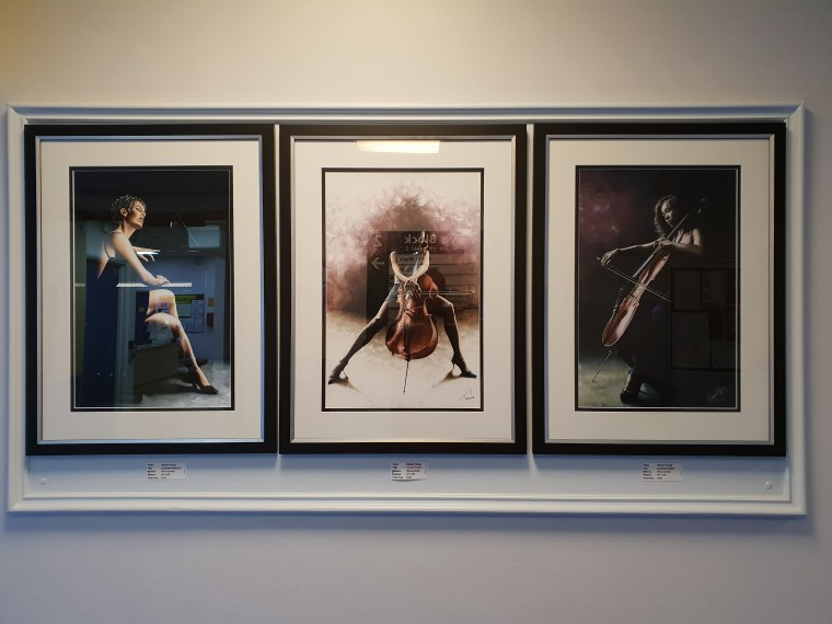 Exquisite Reflection, Tranquil Cellist and Emotional Cellist prints on A2 size paper in a Berkshire exhibition