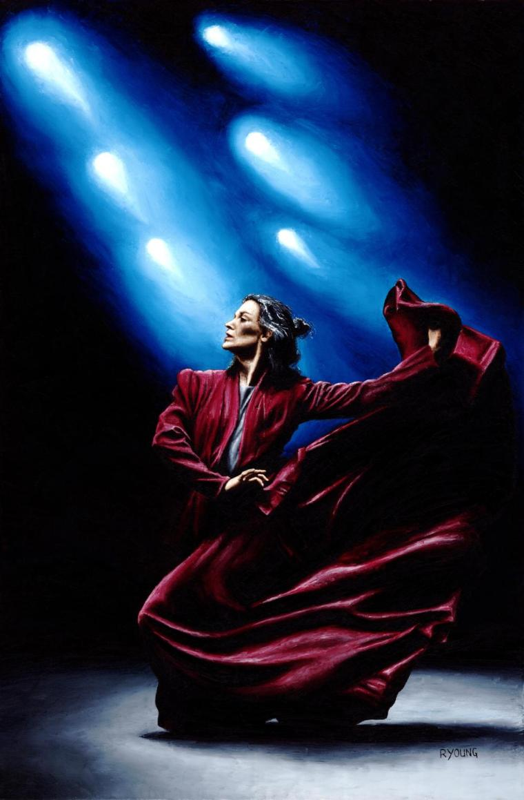 Flamenco Performance - Margie Gillis. Fine art original oil painting on a 91cm x 61cm stretched canvas created in 2010 using a knife. Produced in cooperation with Margie and Michael Slobodian. Original available. Framed = £1,575