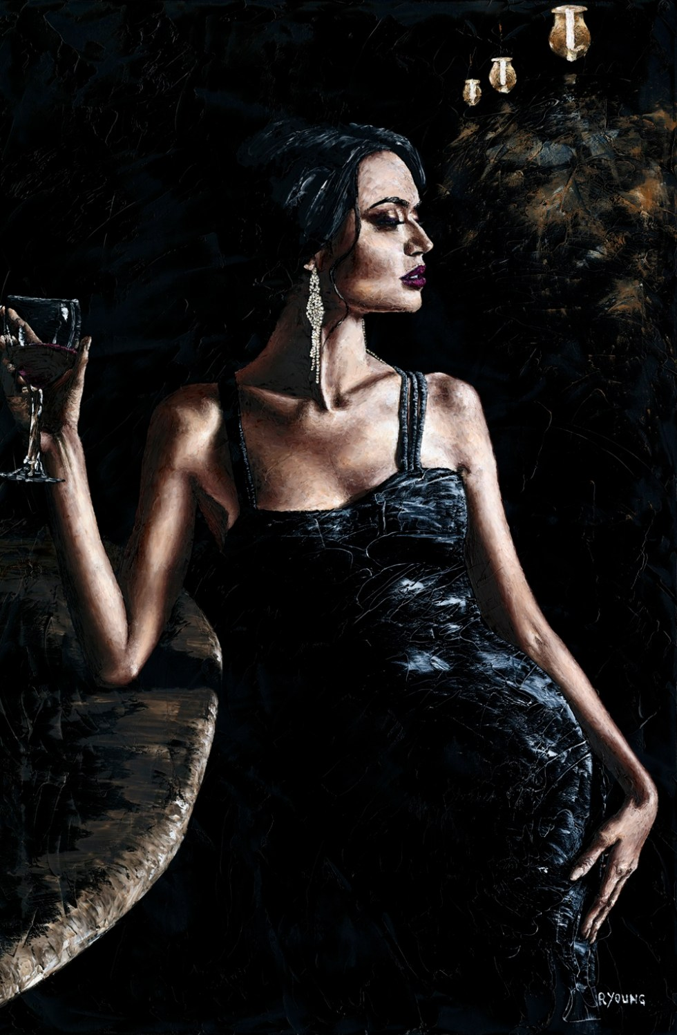 Windsor Contemporary Art Fair - Nightcap. Fine art original oil painting on a 91cm x 61cm stretched canvas created using a knife.
