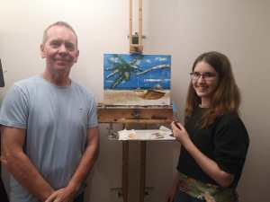 Artwork in progress with a young student - The finished painting