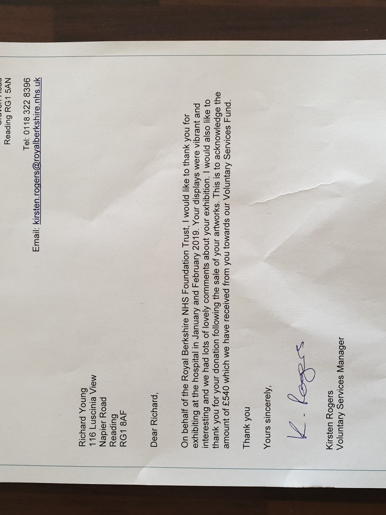 Charities and Support for Charitable Causes. 2019: Royal Berkshire Hospital in Reading, NHS Charity Exhibition - Thank you letter