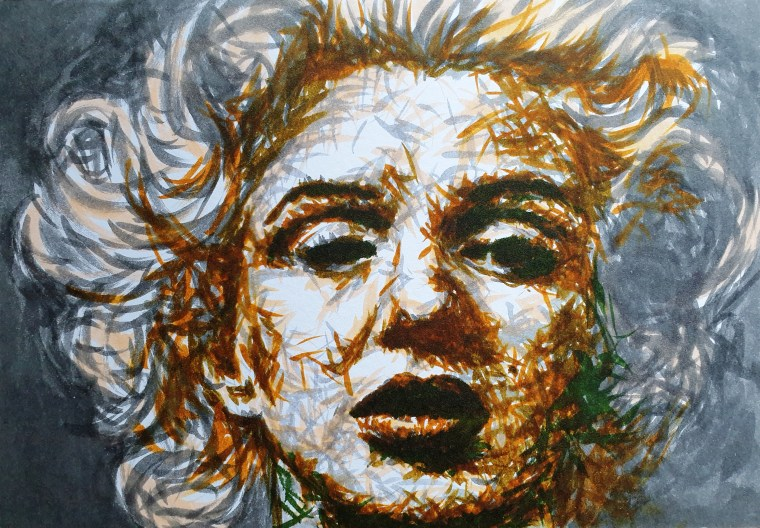 2020: Heart Research UK - The Anonymous HeART Project charity water colour painting: Sadness - Marilyn Monroe