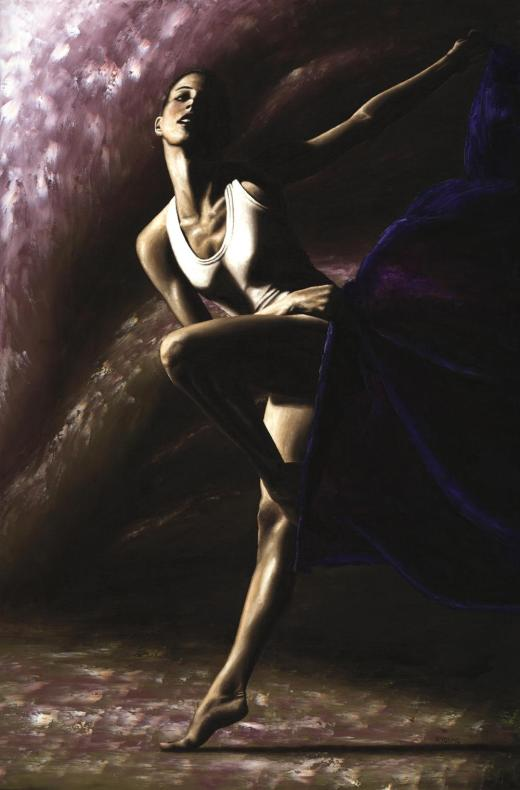 Contemporary Dancer fine art oil painting produced in collaboration with Ed Flores