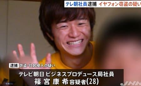 テレ朝社員、篠宮康希の顔画像