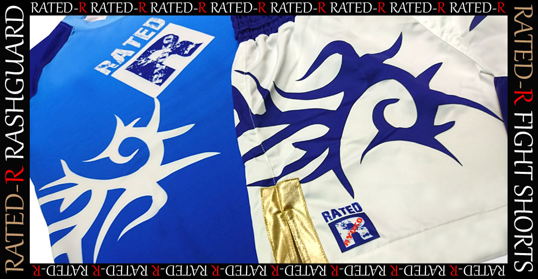 RATED-R New RASHGUARD and FIGHT SHORTS