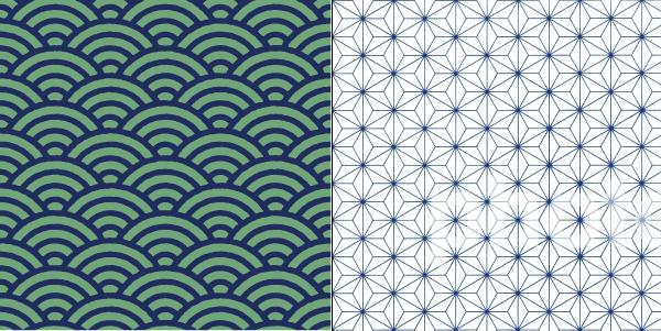 青海波と麻の葉の文様