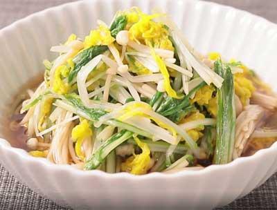 水菜と食用菊のおひたし