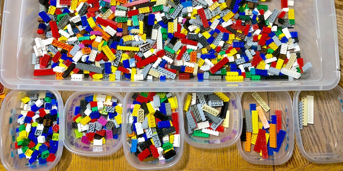 Bins of Lego bricks