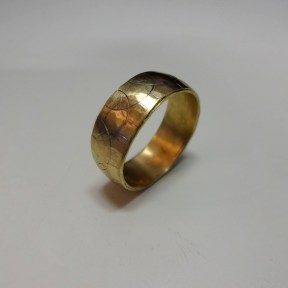 After: Sculpted Wedding Band, 14K Yellow Gold, Rhodium Plated