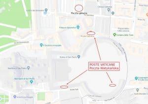 Poczta Watykańska - położenie oddziałów poczty na mapie