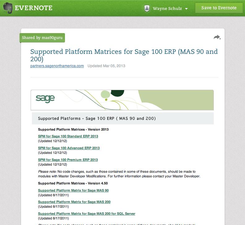 supported platforms sage100
