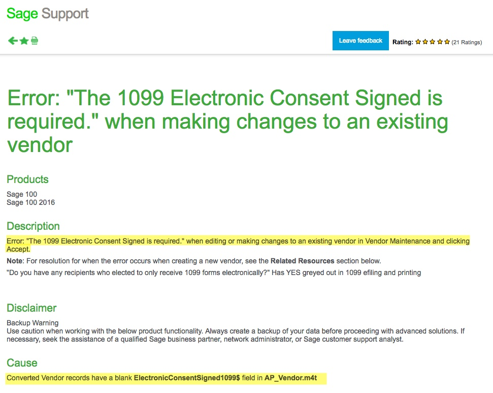 Fixed: Sage 100 Upgrade Bug: The 1099 Electronic Consent Signed is