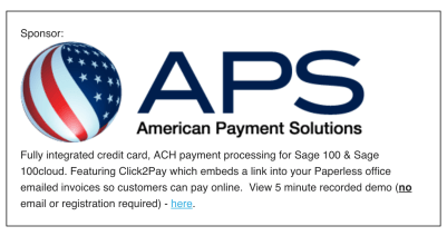 Sage 100 fully integrated credit card processing