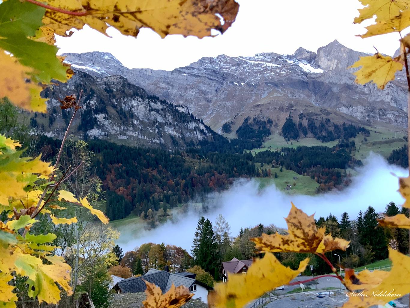 Automne dans les Alpes, brume du matin couvrant la vallée au pied des montagnes.