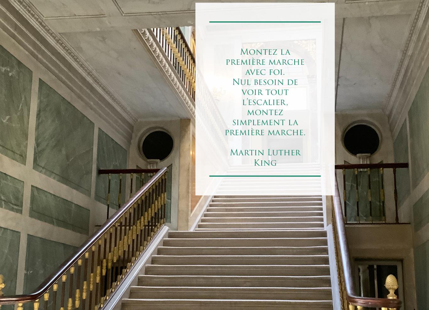 Escalier de Versailles et citation