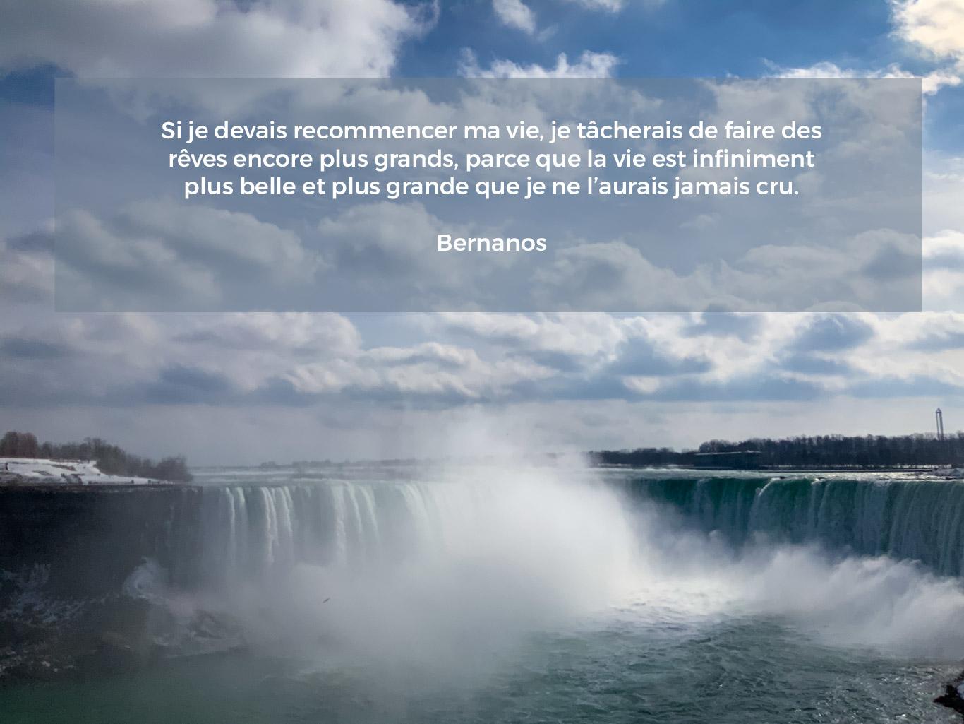 Citation sur les rêves, les chutes du Niagara