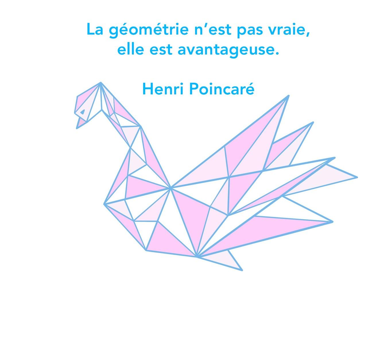 Citation sur la géométrie- image d'un cygne géométrique.