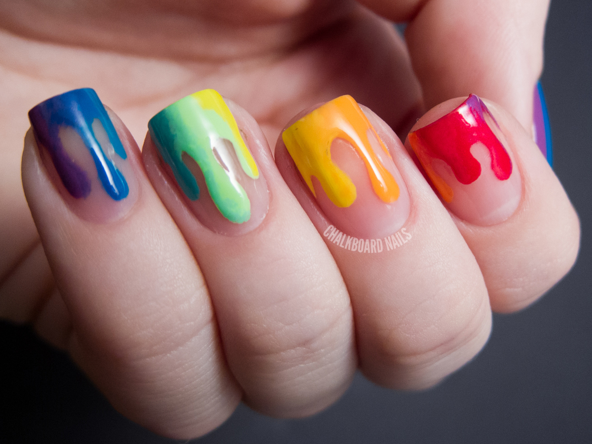 Diy Nail Ideas Rainbow Drip Art And More Of Our Manicures From This Weekend Photos Huffpost