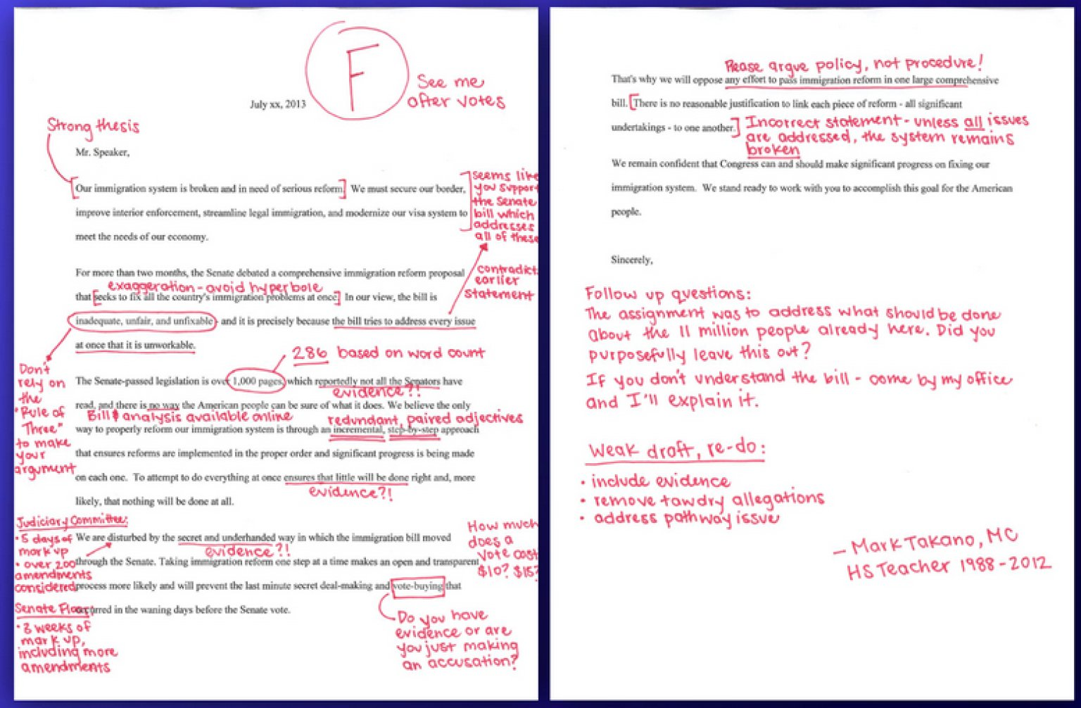 Rep Mark Takano Corrects Republican Letter Proves He