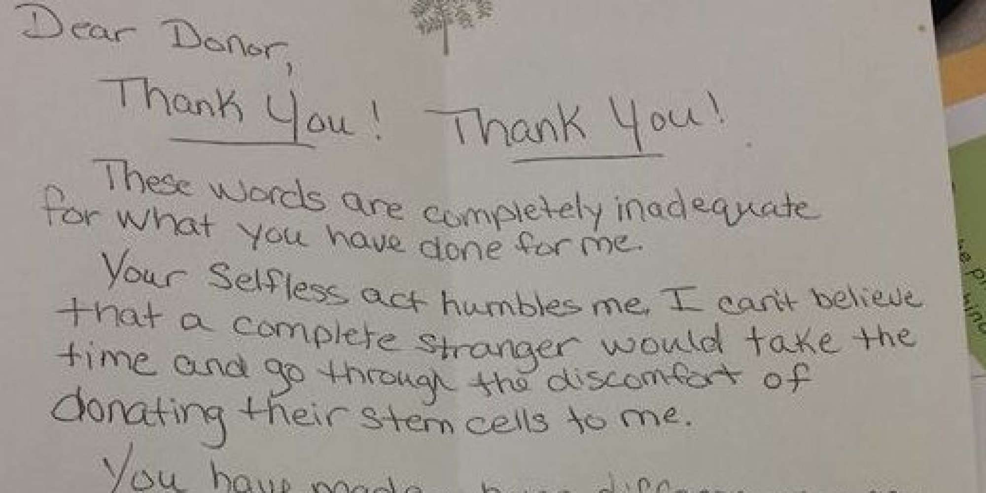 Bone Marrow Recipient Pens Beautiful Thank You Letter To Donor (Photo) |  Huffpost