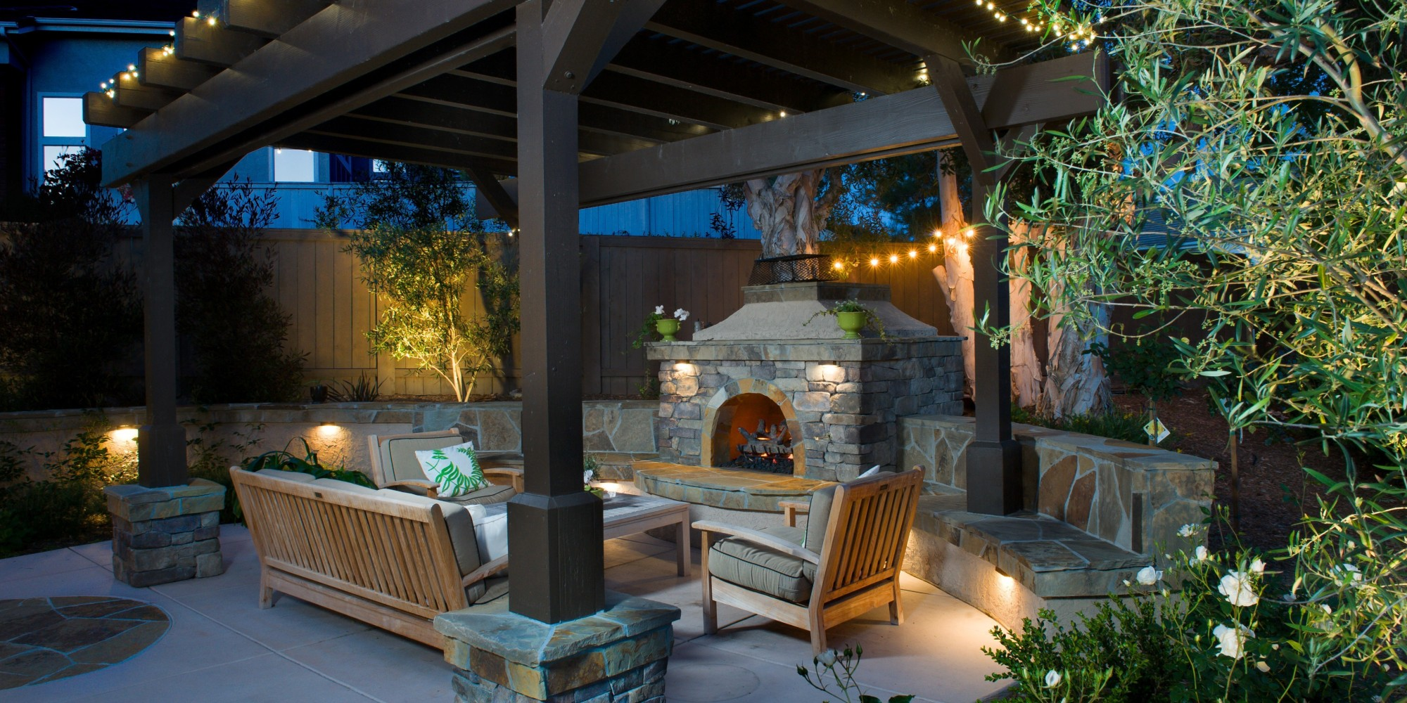 outdoor kitchen patio ideas table set an fireplace is all you need to keep summer going ...
