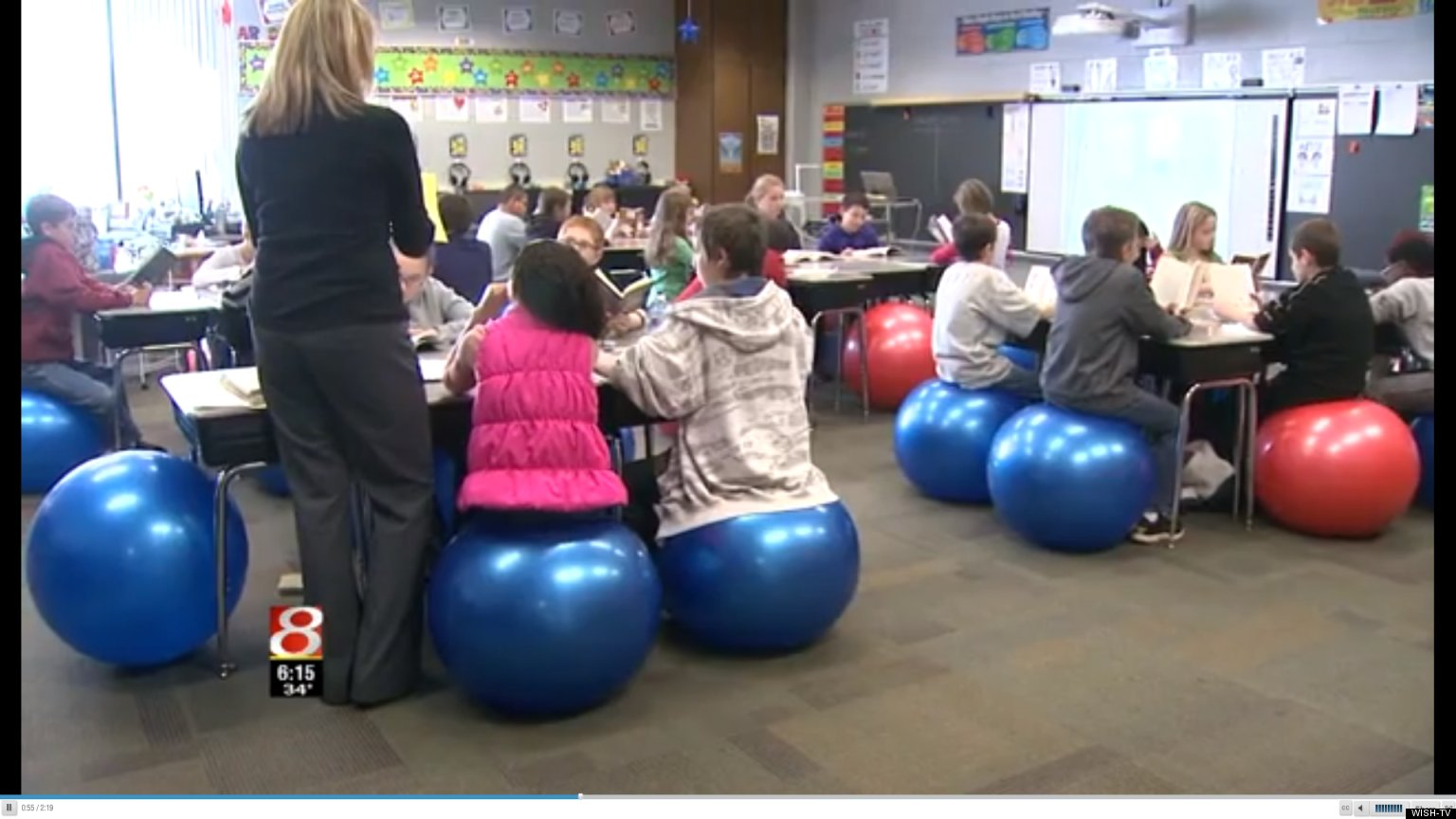 bouncy ball chair plastic folding lounge sara wright indiana teacher swaps exercise balls for