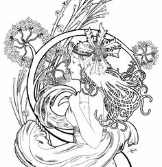 1000+ images about Mucha coloring pages on Pinterest