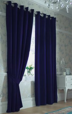 Navy Blue Curtains Perfect For An All White Room Dining Room